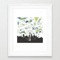 seahawks Framed Art Prints featuring Seahawks Seattle Skyline by Blythe Green