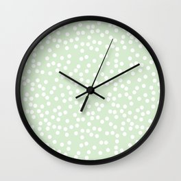 Palest Green and White Polka Dot Pattern Wall Clock