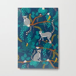 Lemurs on Blue Metal Print