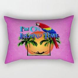 Pink Island Time And Parrot Rectangular Pillow