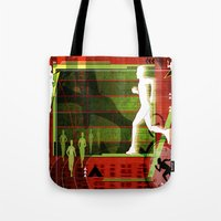 running Tote Bags featuring Running by Robin Curtiss