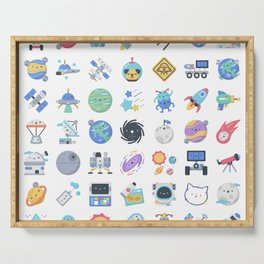 CUTE OUTER SPACE / SCIENCE / GALAXY PATTERN Serving Tray
