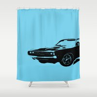 muscle Shower Curtains featuring AUTO IMMUNE MUSCLE by Erin Thomas