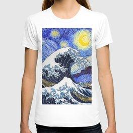 "Hokusai,""The Great Wave off Kanagawa"" + van Gogh,""Starry night"" T-shirt"