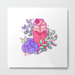 Peachy Milk Carton with Peony Metal Print