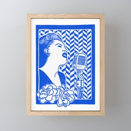 Lady Day (Billie Holiday block print) Framed Mini Art Print