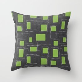Got Me In Stitches - Green Throw Pillow