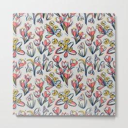 First Spring Flowers / Snowdrop, Primrose, Crocus Metal Print