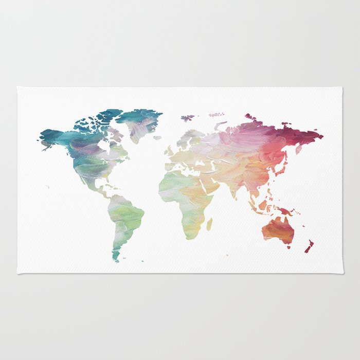 Painted world map rug by olaholahola society6 painted world map rug gumiabroncs Choice Image