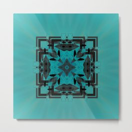 Turquoise Ornate Abstract Design Metal Print