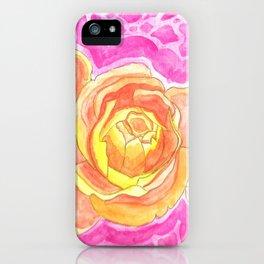 Orange Roses Watercolor iPhone Case