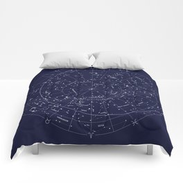 Constellation Map Indigo Comforters