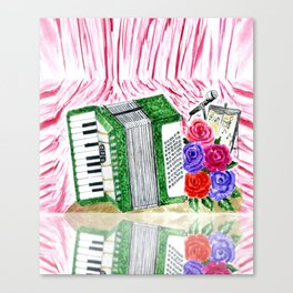 Accordion with roses Canvas Print