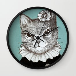 Blue Cat - Ink and acrylic cat art Wall Clock