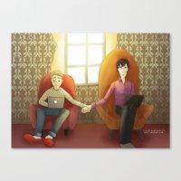 johnlock Canvas Prints featuring Johnlock by il cielo capovolto