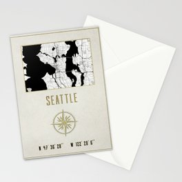 Seattle - Vintage Map and Location Stationery Cards