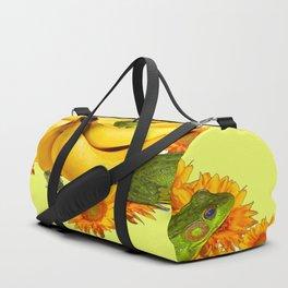 GREEN FROGS BANANAS SUNFLOWERS BUTTERFLY DESIGN Duffle Bag