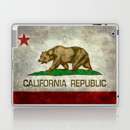 Californian flag the Bear flag in retro grunge Laptop & iPad Skin