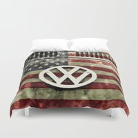 vw Duvet Covers featuring VW Retro US Flag by Alice Gosling