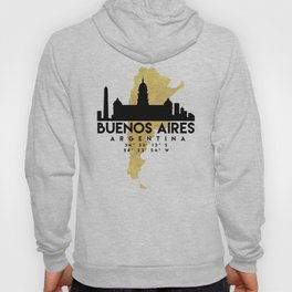 BUENOS AIRES ARGENTINA SILHOUETTE SKYLINE MAP ART Hoody
