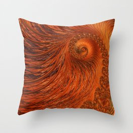 Orange Lily Fractal Throw Pillow