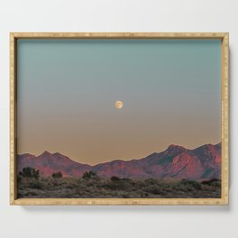 Sunset Moon Ridge // Grainy Red Mountain Range Desert Landscape Photography Yellow Fullmoon Blue Sky Serving Tray