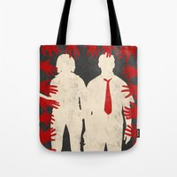 shaun of the dead Tote Bags featuring Shaun Of The Dead by Bill Pyle