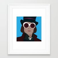 willy wonka Framed Art Prints featuring willy wonka by Mariana Andrea