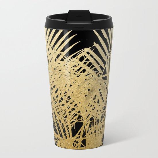Golden Palms Metal Travel Mug