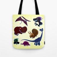 cartoons Tote Bags featuring Dinosaur Cartoons by Cartoonasaurus