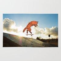 skateboard Area & Throw Rugs featuring Skateboard FOX! by Jesse Robinson Williams