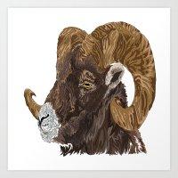 ram Art Prints featuring Ram by FractalFox