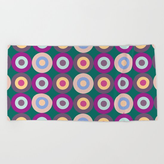 Seamless Colorful Circle Pattern Beach Towel