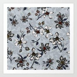Botanical Pattern on Grey Background Art Print