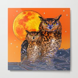 OWLS IN FULL MOONSCAPE NIGHT ORANGE ART Metal Print