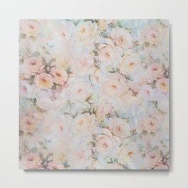 Vintage romantic blush pink ivory elegant rose floral Metal Print