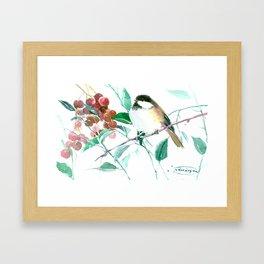 Chickadee And Berries chickadee bird art Framed Art Print