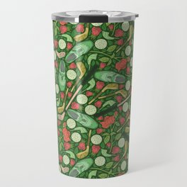 Golf shoes and clubs among red roses and balls Travel Mug