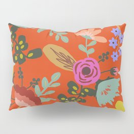 Funky Red Floral Pillow Sham