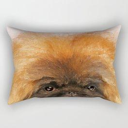 Portrait of fluffy sad Pekingese puppy Rectangular Pillow