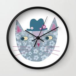 Flowery Cat in a Flowery Hat Wall Clock