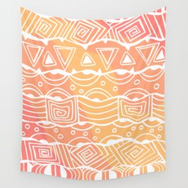 Wavy Tribal Lines with Shapes - White on Orange - Doodle Drawing Wall Tapestry