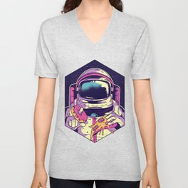 Hungry Astronaut Eating Donuts and Pizza Unisex V-Neck