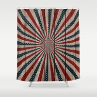 patriotic Shower Curtains featuring Patriotic Wood Texture #3 by Juliana RW