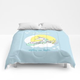 Believe in your dreams - Cute Unicorn in the clouds Comforters