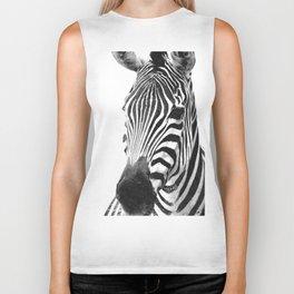 Black and white zebra illustration Biker Tank