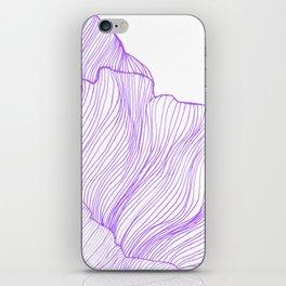 Sea waves line illustration Purple Modern Minimalist drawing. iPhone Skin