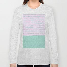 Pastel babyblue rose striped lined pattern Long Sleeve T-shirt