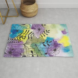 Cute floral doodle and watercolor washes  Rug