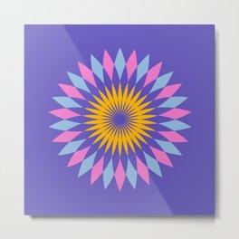 Purple circle blue and orange pattern art Metal Print